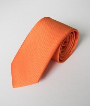 Cravate en satin côtelé orange