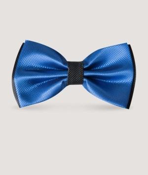 Nœud papillon en satin bi-ton bleu/noir