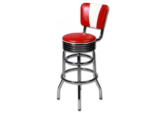 tabouret bar americain avec dossier vintage rouge