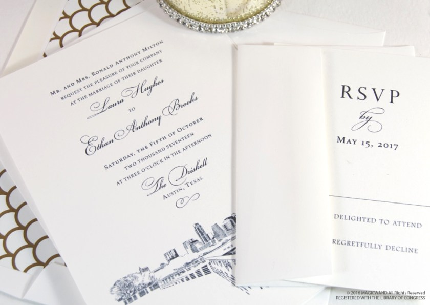 Austin Texas Skyline Wedding Invitations