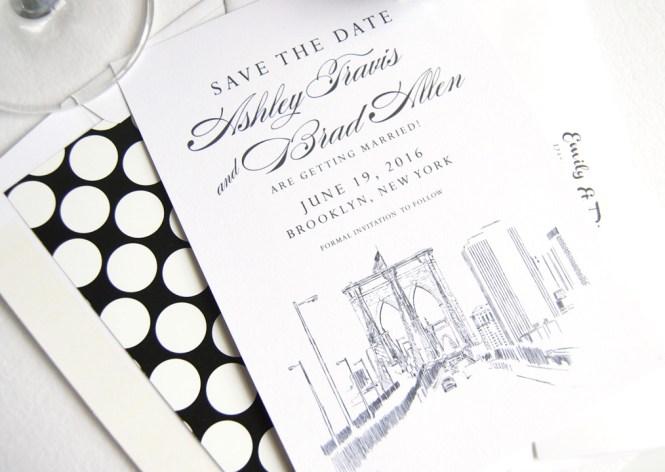York Skyline Hand Drawn Save The Date Cards