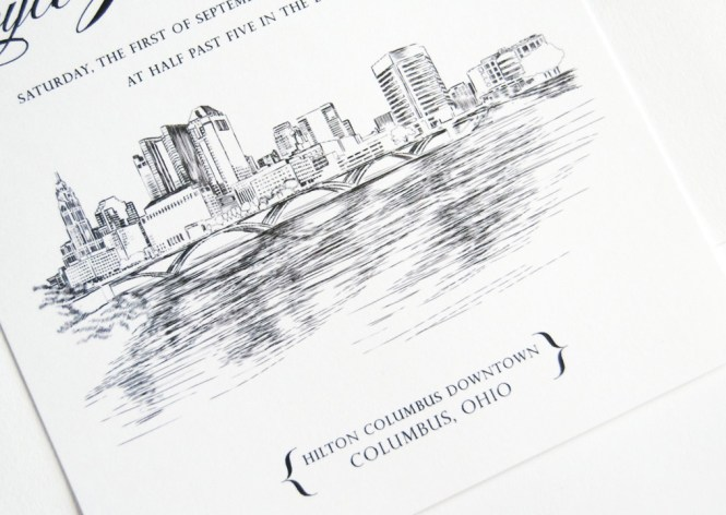 Columbus Ohio Skyline Wedding Invitations