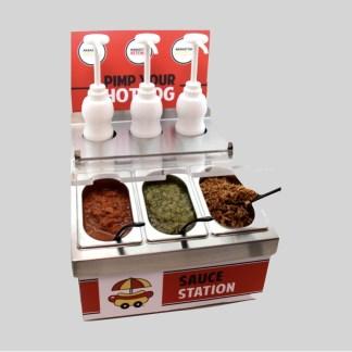 Découvrez le Sauce Station Manhattan Hot Dog ! Un meuble spécialement conçu pour la mise en place des sauces et condiments en libre service !