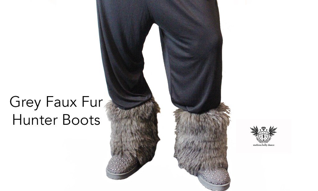 FAUX FUR HUNTER BOOTS grey front