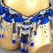 Diamond and Beads Blue Belt