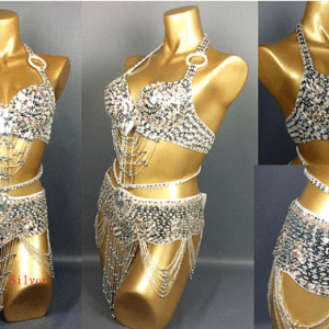 quality glamour belly dance costume full silver