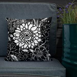 botanical art on pillow