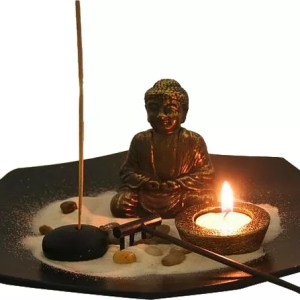 Desktop Octagon Zen Garden with Buddha & candle-0
