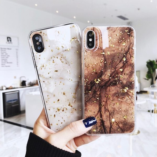 Luxury Gold Foil Bling Marble Phone Case For iPhone X XS Max XR 7 8 6 6s Plus Glitter Case