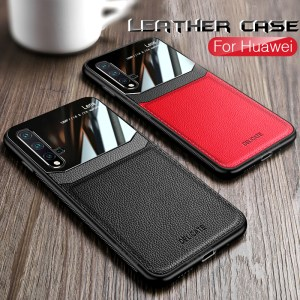 Leather plexiglass cases for Huawei P20, P30 lite, Mate 20 Pro, Honor 8x, 9x, view 10, 20 lite, 20i, 10i silicone shockproof cover