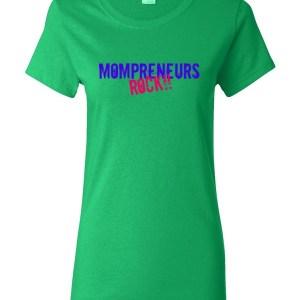 'Mompreneurs Rock' Heavy Cotton Short Sleeve T-Shirt (Blue/DkPink)