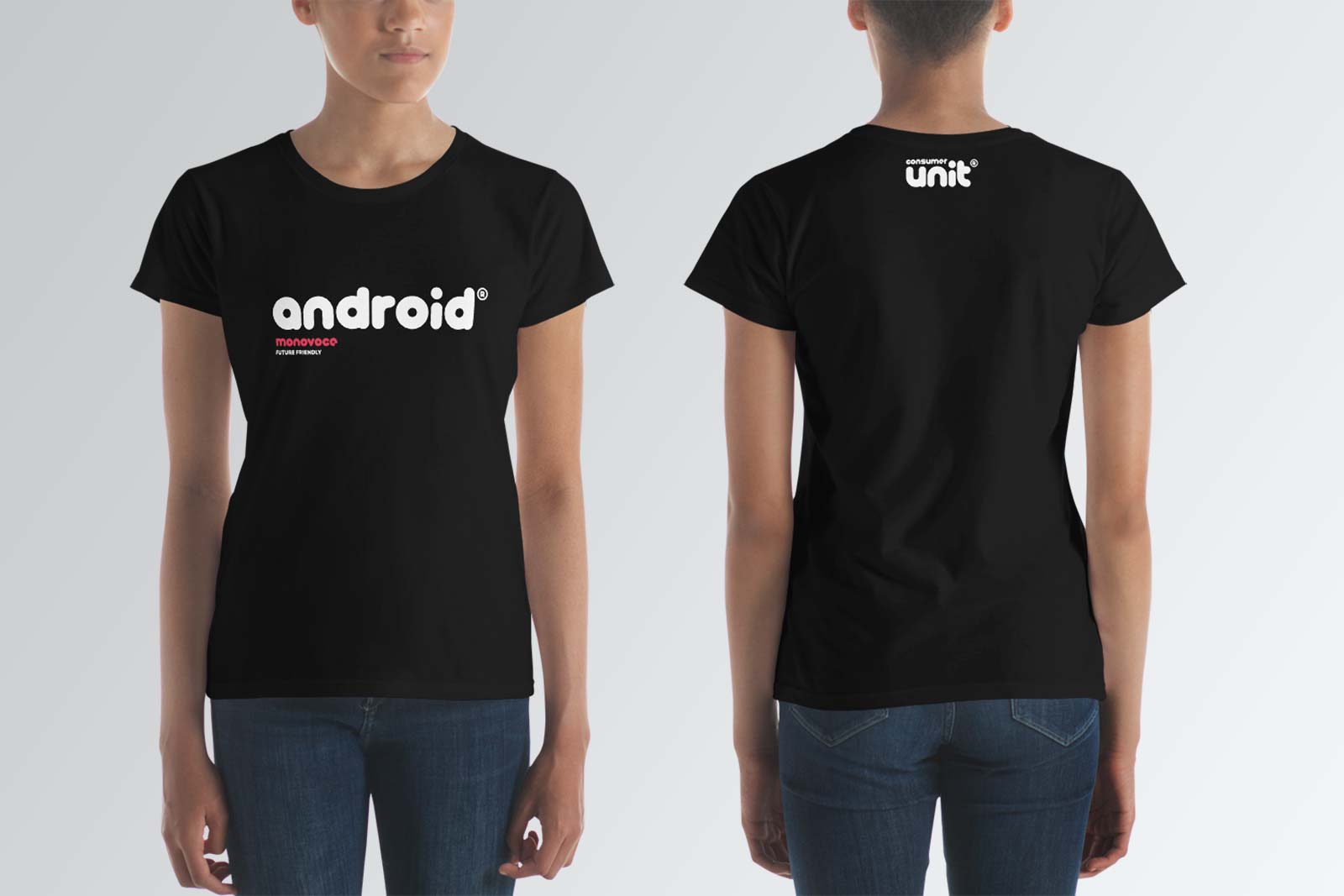 Android t-shirt for women in black