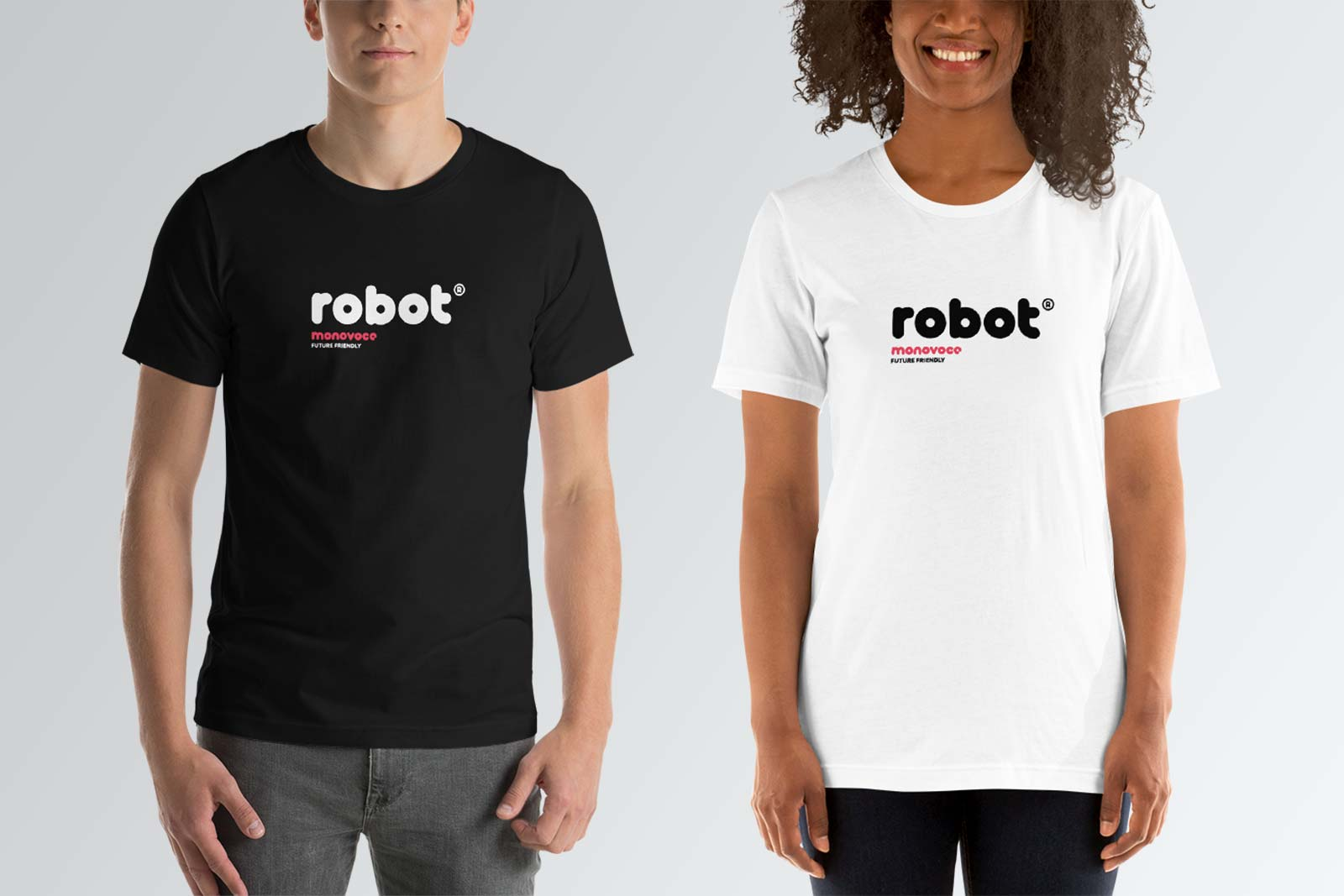 Robot t-shirt for men in black and white