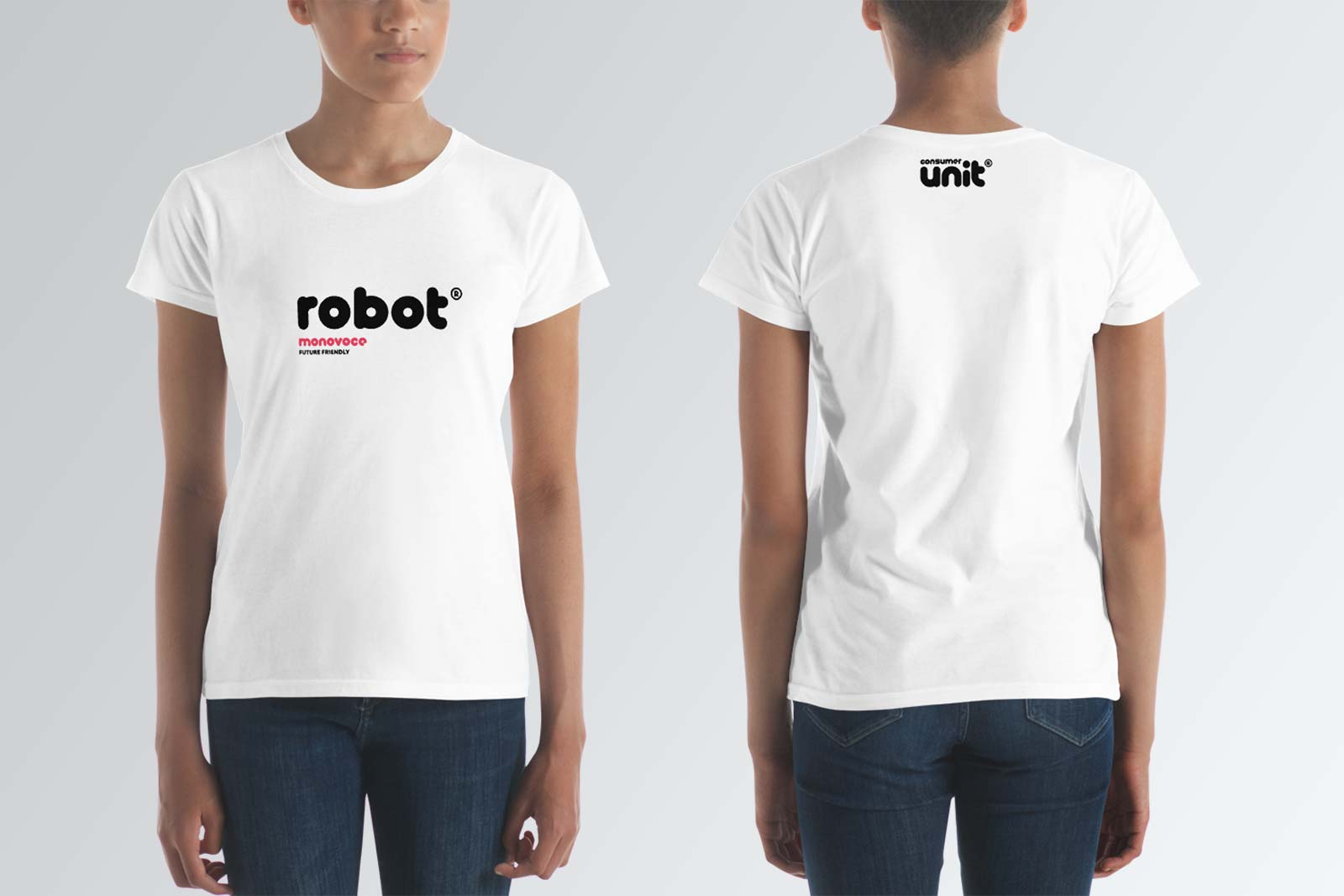 Robot t-shirt for women in white