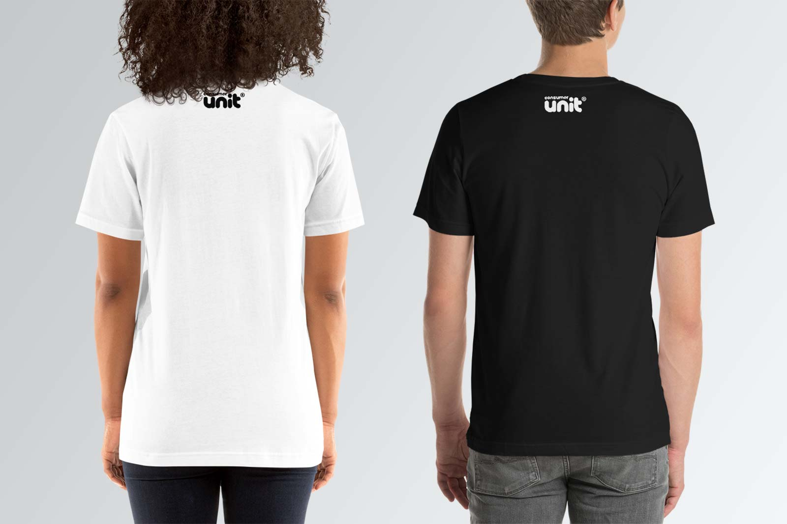 Back label on t-shirt for men in black and white