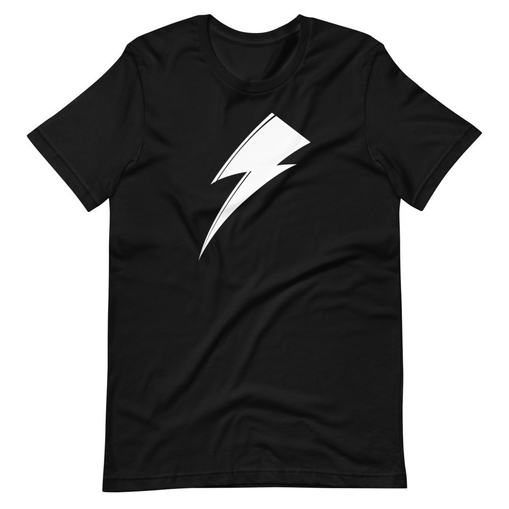 Aladdin Sane white lightning bolt on black t-shirt