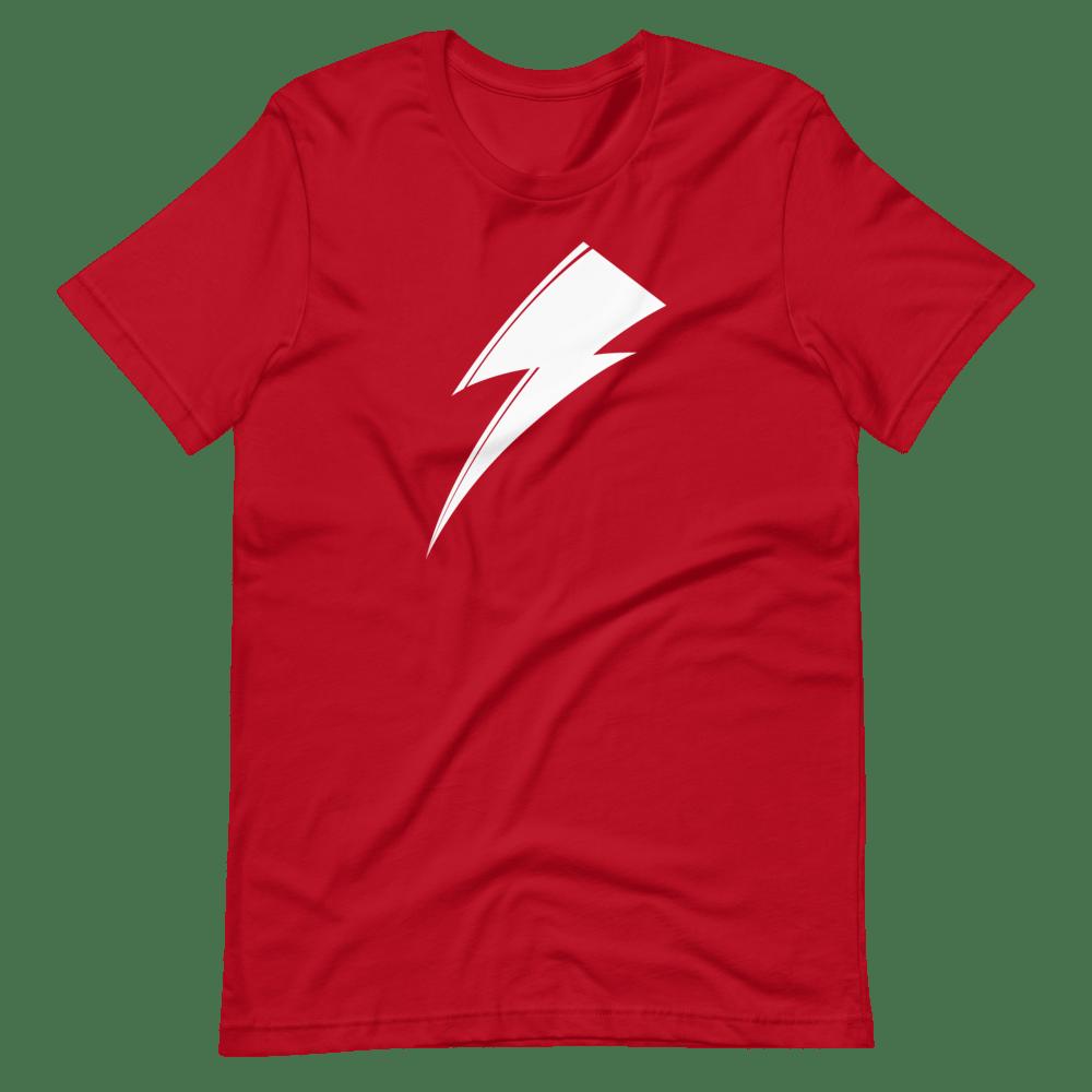 Aladdin Sane white lightning bolt on red t-shirt