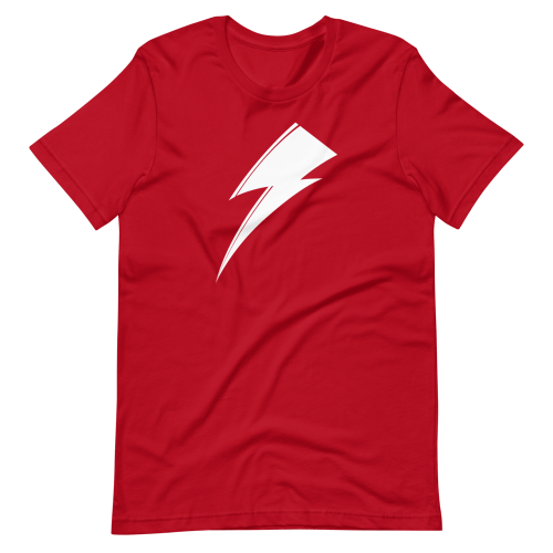 Aladdin Sane white lightning bolt on red t-shirt
