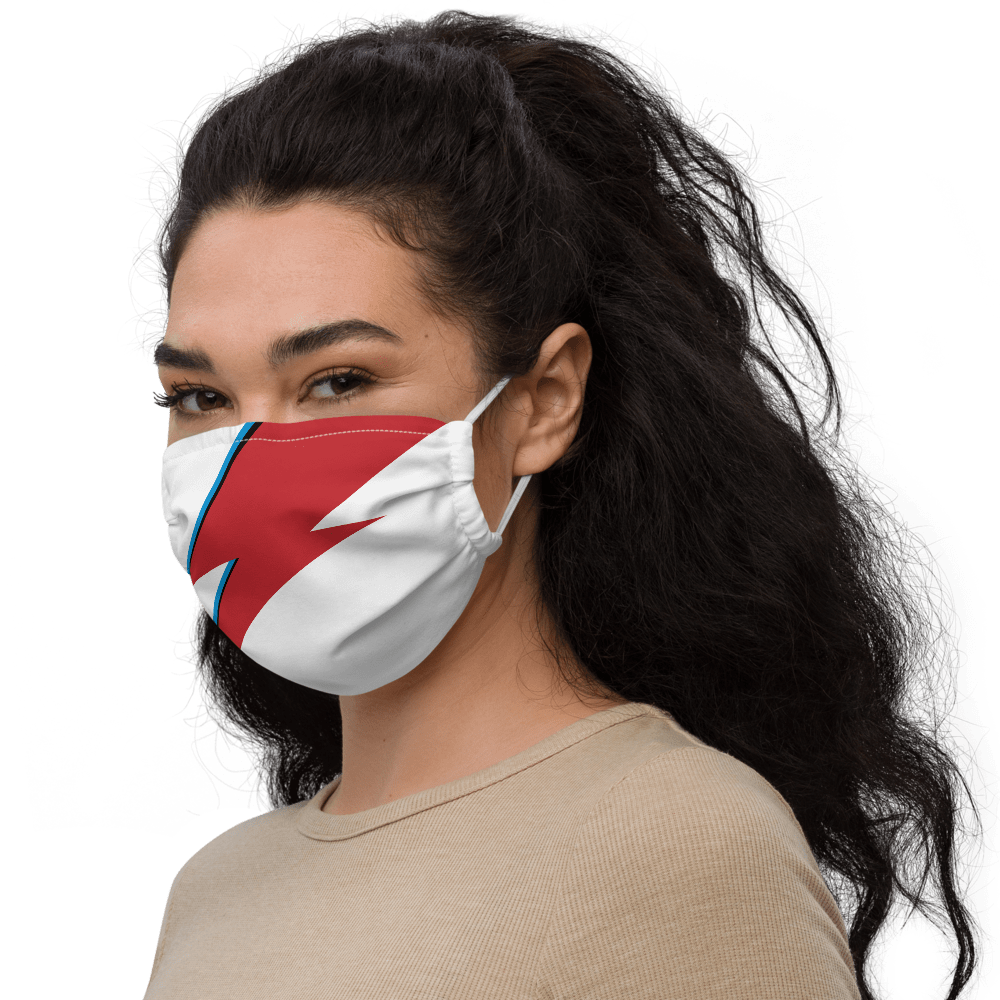 Aladdin Sane lightning bolt, white face mask on a young woman