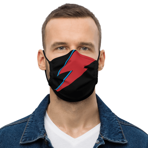 Aladdin Sane lightning bolt, black face mask on a young man