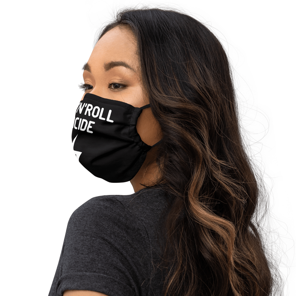 Rock'n'Roll black face mask on a young woman