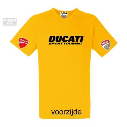 """Geel shirt met daarop in het zwart """"Ducati Sporttouring"""