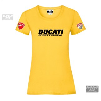 "zwarte tekst ""Ducati sporttouring op een geel lady-fit tshirt"