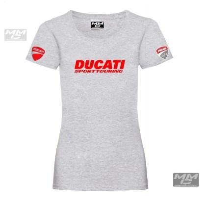 Ladies fit tee shirt lichtgrijs met rood.