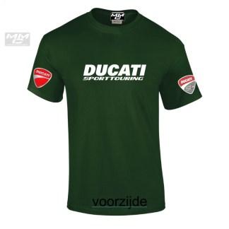 "Teeshirt, donkergroen met witte opdruk""Ducati Sporttouring"" ST2"
