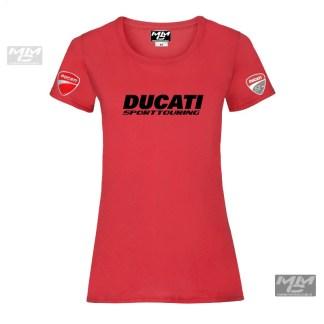 """zwarte """"Ducati Sporttouring""""opdruk op een rood shirt. Lady-fit"""