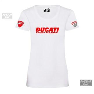"rode tekst ""Ducati sporttouring""op een wit shirt, dames model."