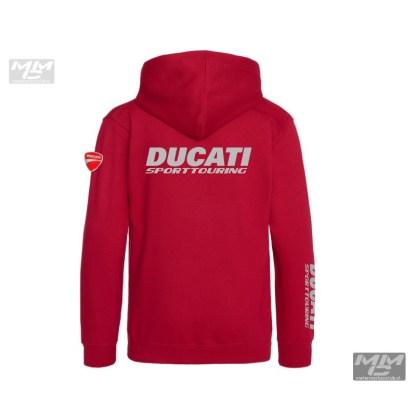 Rood vest met capuchon, grijze opdruk Sporttouring, ST