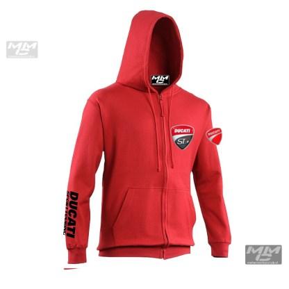 """Zwarte opdruk """"Ducati Sporttouring"""" op rode Zoodie"""