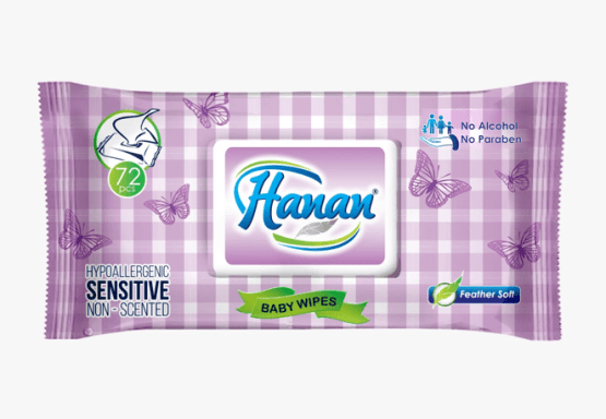 Hanan Sensitive Wipes- 72 Count