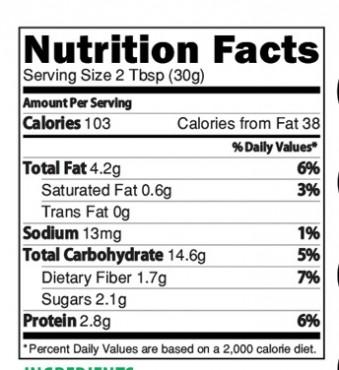 Mutligrain Health Drink Nutrition Facts