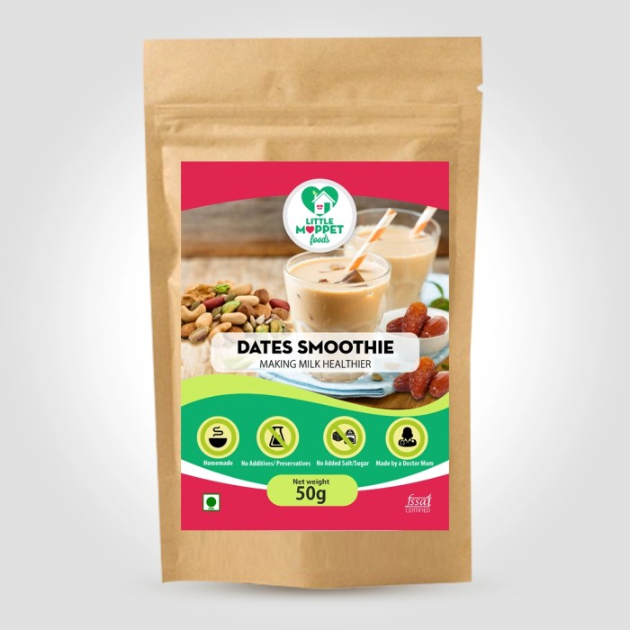 Dates Smoothie Mix - Instant Health Drink Powder For Kids And Adults