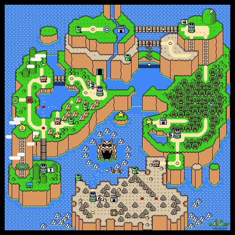 Super mario world main overworld 24 x 24 poster nintendo maps super mario world gumiabroncs Images