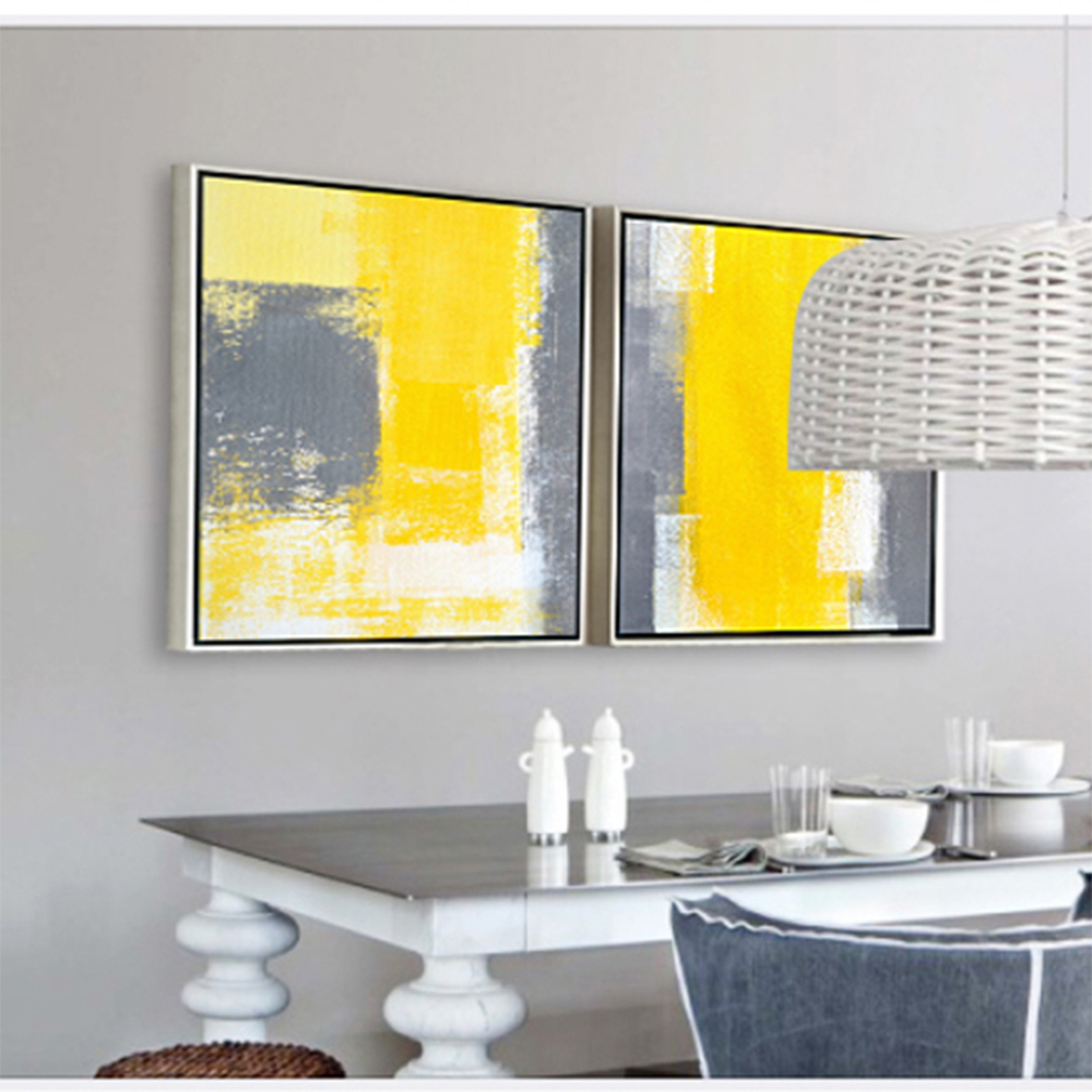 Fetching Abstract Yellow Oil Painting Frameless Poster - Number 25 ...