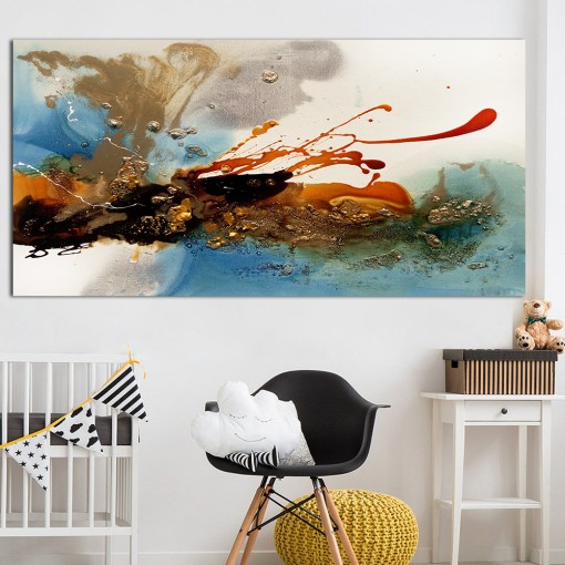Rich And Colorful Abstract Oil Painting Frameless Poster