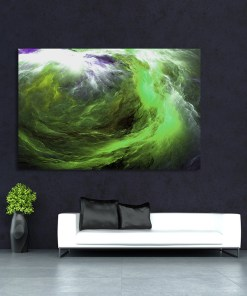 Powerful Green Cloud Swirl Abstract Frameless Art Poster