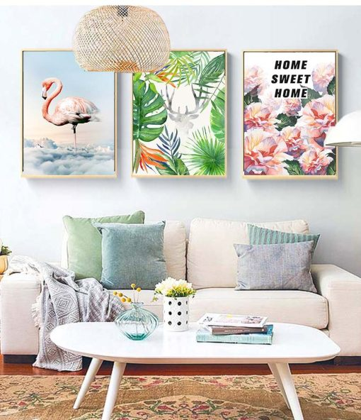 Heart-Stirring Flamingo, Plants, and Flowers With Word Quote Frameless Poster