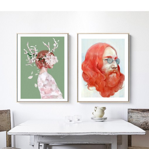 Striking Man And Girl With Flowers