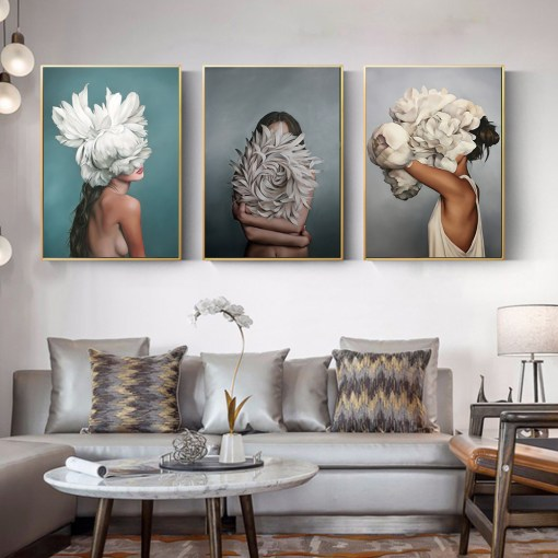 Dashing Women With Flowers And Feathers Frameless Poster