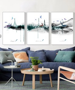 Extraordinary Watercolour Landscape, Eiffel Tower, and Animals Abstract Frameless Poster