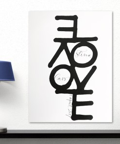 Enthralling Black And White Love Word Quote Frameless Poster