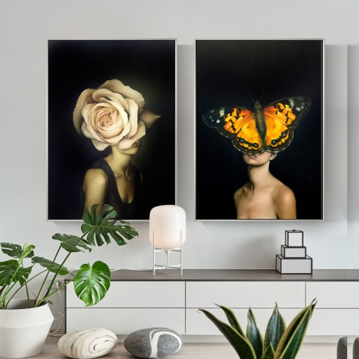 Astounding Women With Flowers And Butterfly Frameless Poster