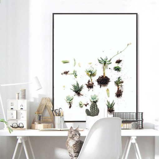 Sage Word Quote and Green Succulents Frameless Poster