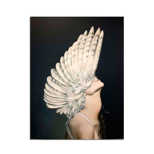 Daring Women With Feather Wings Headdress Frameless Poster