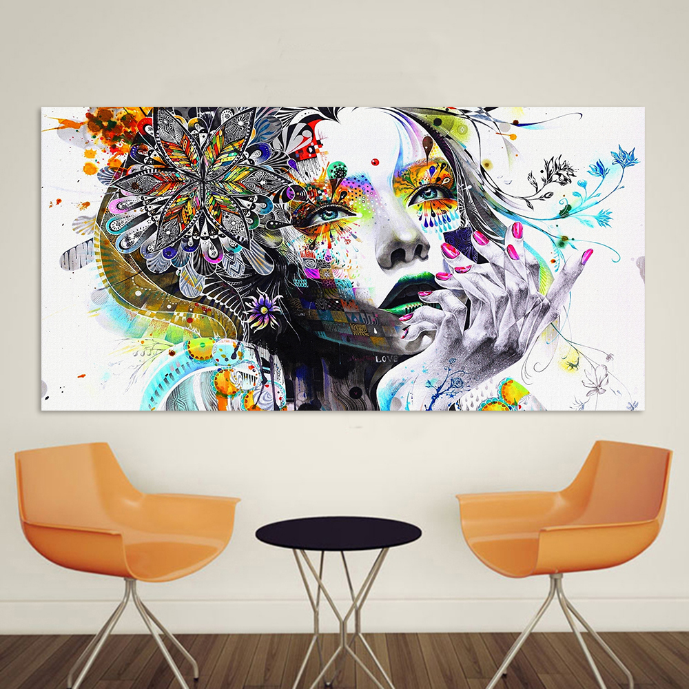 Convivial girl with flowers large frameless pop art poster convivial girl with flowers large frameless pop art poster