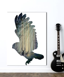 Sprightly Flying Eagle Silhouette And Scenery Frameless Poster